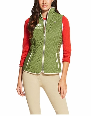 PWCI LADIES' ARIAT OFFICIAL LOGO ASHLEY VEST OLIVE MARINE