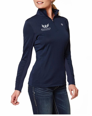 PWCI LADIES' ARIAT OFFICIAL LOGO SUNSTOPPER ¼ ZIP PULLOVER