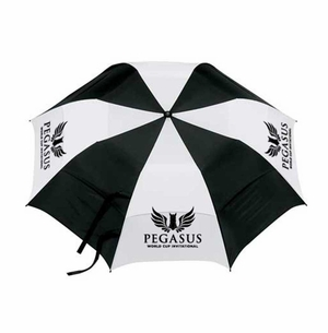 PWCI OFFICIAL LOGO 58'' VENTED AUTO UMBRELLA, BLACK/WHITE