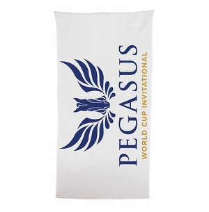 PWCI OFFICIAL LOGO BEACH TOWEL, WHITE