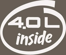 4.0L Inside White Oval Decal