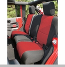 Seat Cover Wrangler JK 2D 2007-2017 Rear Black & Red Rugged Ridge
