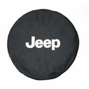 Black Tire Cover with Jeep Logo in White