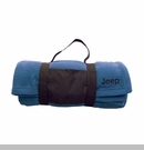 Jeep Embroidered Fleece Blanket w/ Carrying Strap, Blue