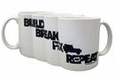 """Build, Break, Fix, Repeat"" Black and White Ceramic Mug"