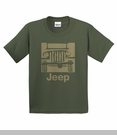 """""""Camp Jeep Logo"""" Youth Tee, Olive Green"""