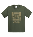 """Camp Jeep Logo"" Youth Tee, Olive Green"