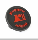"Center Cap for 17x9"" Rugged Ridge Wheels in Black with Red Logo"