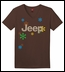 "CLOSEOUT - ""Jeep & Daisies"" Brown V-Neck Short Sleeved Shirt for Women"