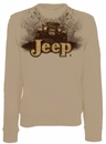 "CLOSEOUT -(Large Only) - Jeep Crewneck Sweatshirt ""Mudbogging Jeep"" Tan Fleece"
