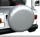 "Spare Tire Cover for 31"" x 11"" Tires Diamond Plate Silver by VDP"