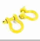 "D-Ring 7/8"" 13,500 lb Work Load Limit in Yellow by Rugged Ridge Pair"