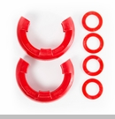 "D-Ring Isolator Kit for 3/4"" D-Rings in Red by Rugged Ridge - Pair"
