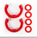 "D-Ring Isolator Kit for 7/8"" D-Rings in Red by Rugged Ridge - Pair"