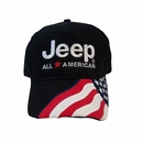Embroidered All American Flag Jeep Hat, Black
