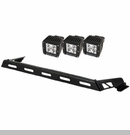 Hood Light Bar with 3 Square LED Kit Wrangler JK 2007-2017 Black