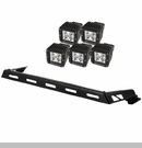 Hood Light Bar with 5 Square LED Kit Wrangler JK 2007-2017 Black