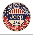 """Jeep 4x4 American Legend Since 1941 Metal Sign, 14"""" Round"""