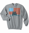 """Closeout - Jeep """"American Flag / Live without Limits"""" Gray Crewneck Sweatshirt"""