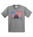 "Closeout - Jeep ""American Flag / Live without Limits"" YOUTH  Grey T-Shirt"