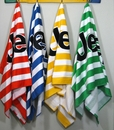 """Jeep Beach Towels, Striped Velour with Black Jeep Logo, Oversized 34"""" x 64"""""""