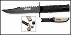 """Jeep Black  8 1/2"""" Survival Camping Knife, 4.25"""" Blade"""