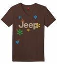"""CLOSEOUT - """"Jeep & Daisies"""" Brown V-Neck Short Sleeved Shirt for Women"""