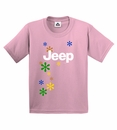 Closeout - Jeep Girls T-shirt (Jeep logo & daisies on Pink)