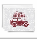Jeep Holiday Card Happy Holidays Red Print, Boxed Set of 10