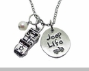 "Jeep Necklace with ""Jeep Life"" Charm"