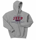 "Jeep Sweatshirt - ""Authentic Jeep"" - Grey, Hooded"