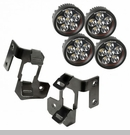 A-Pillar Mounting with 4 Round LED Lights Wrangler JK 2007-2017 Black