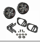 Bumper Mount Brackets and Round LED Lights Wrangler JK 2007-2017 Black