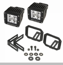 Bumper Mount Brackets and Square LED Lights Wrangler JK 2007-2017 Blk