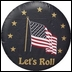 Let's Roll Tire Cover in Black Vinyl with U.S. Flag