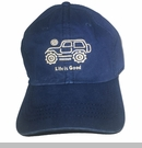 "Life is Good Chill Cap - White Ride on ""Darkest Blue"" Hat"
