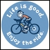 "Life is Good- Enjoy the Ride 4"" Decal- Burgundy"