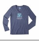 """Life is good """"Go Places Jeep"""" Women's LONG SLEEVE V-Neck Tee on Dark Blue"""