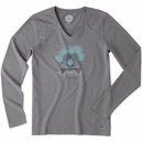 "Life is Good ""Go Places"" Women's Long Sleeve Tee on Slate Grey"