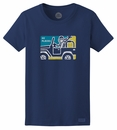 "Life is Good ""Jake Jeep Crayon"" Women's Tee on Dust Blue"