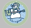 Life is Good Jammin' Snowman on Blue Round Sticker