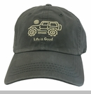 Life is Good Native Offroad Chill Cap - Tan Jeep on Slate Gray Hat