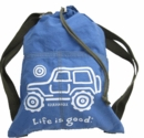 "CLOSEOUT - Life is Good ""Native Offroad"" Cinch Sack (Jeep on Aqua Blue)"