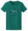 """Closeout - XL Only, Life is Good """"Off Road Greeting"""" Women's Tee in Teal Blue"""