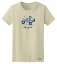 "Closeout - Life is Good ""Off Road Hello"" Women's Tee on Simply Ivory - SMALL ONLY"