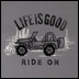 "Life is Good ""Ride On"" Women's Long Sleeve Tee on Slate Grey"