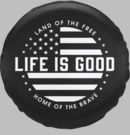 Life is Good Tire Cover Black and White Flag