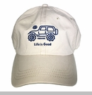 """Life is Good Chill Cap - Native Jeep on """"Bone"""" Hat with Blue Jeep"""