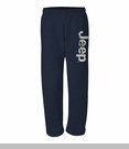 Navy Open Bottom Sweatpants with Distressed Jeep Logo