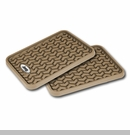 Rear Floor Liners with Jeep Logo, Universal Tan Rugged Ridge